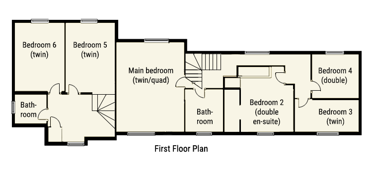 First Floor plan of large holiday cottage Bath