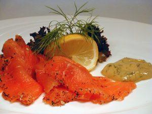 smoked salmon starter gravlax or gravadlax